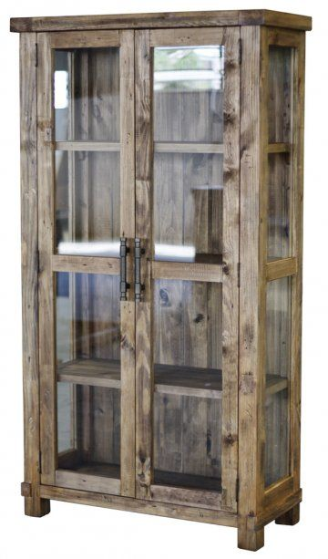 Country Reclaimed Solid Wood Farmhouse Glass Display Cabinet at www.GoWFB.ca | Using Forest Stewardship Council (FSC) certified reclaimed solid pine salvaged from old pine shipping crates and pallets, this glass display cabinet is a functional dining room accent that is environmentally sustainable by using 100% repurposed materials. Features three spacious shelves behind glass paned doors with recycled solid iron metal handles for a look that marries rustic charm with simplistic elegance.