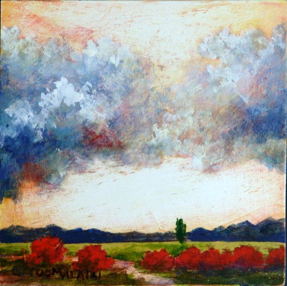 Cloud river red tree mountain landscape oil painting on wood 5.5 x 5.5 inches Sail in Heaven Along. $85.00, via Etsy.