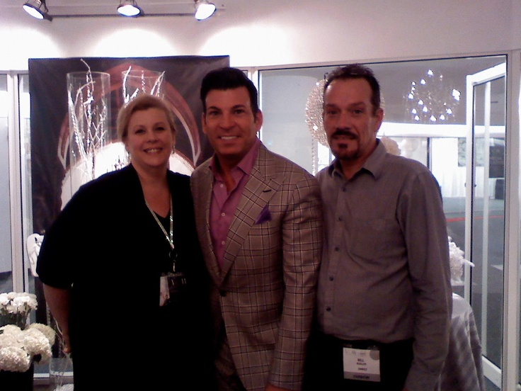Celebrity Wedding Planner David Tutera (center) visiting Brenda Kucinski,(left) events director for Socially Artistic Events and chief floral designer Bill Kugler at Catan Fashions, the country's largest destination bridal salon.