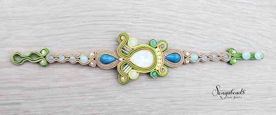 Spring new soutache bracelet in ivy green blue and от Sengabeads