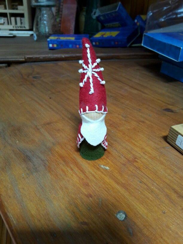 Christmas gnome peg doll