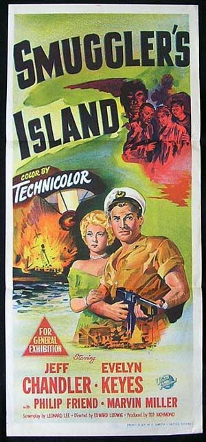 jeff chandler movies | SMUGGLERS ISLAND Movie Poster 1951 Jeff Chandler RARE daybill