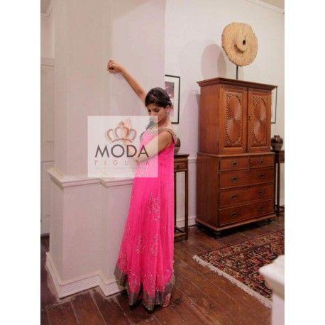 Pink indo western long dress with zardosi work