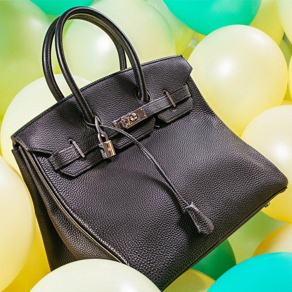 HERMES - a black Togo Birkin 35 handbag.