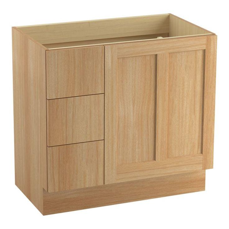 "Kohler K-99533-TKL Poplin 36"" Vanity Cabinet Only - Toe Kick Installation Type Khaki White Oak Fixture Vanity Single"