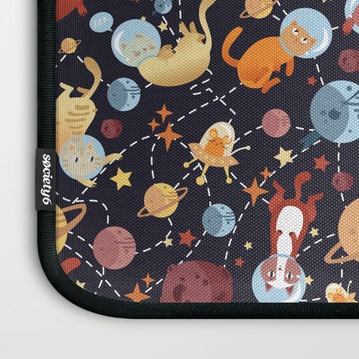 Cat astronaut seamless pattern Laptop Sleeve by Erika Biro | Society6