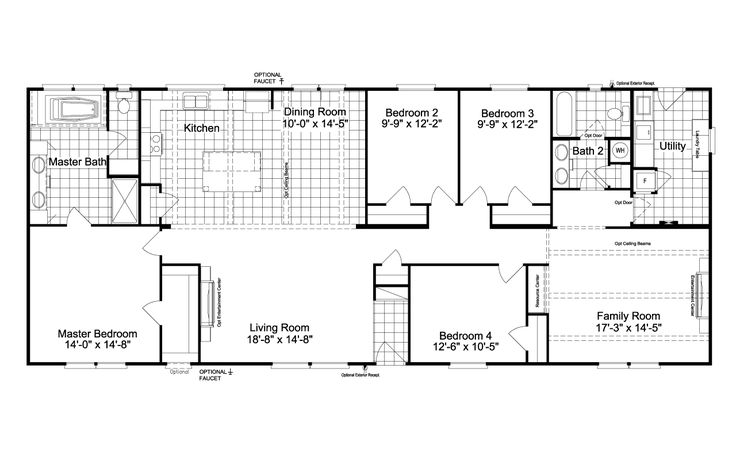 The Carrington 74 | 2220 Sq Ft Manufactured Home Floor Plans in Austin,Texas