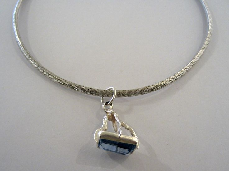 Anna Balasoglou - One Bird One Stone Necklace - sterling silver with blue topaz