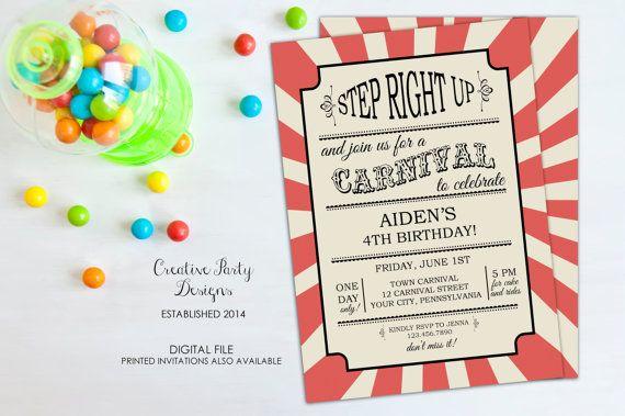 Carnival Birthday Invitation - Carnival Invitation - Carnival Party - Circus Birthday Invitation - Kids Birthday Party - Vintage - Printable