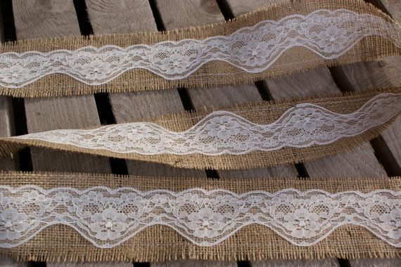 Burlap and lace ribbon - 3 yards