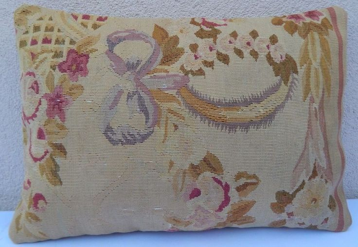14X20 Antique Decor Aubusson Tapestry Kilim Lumbar Pillow Shabby French Chic  #Handmade #FrenchCountry