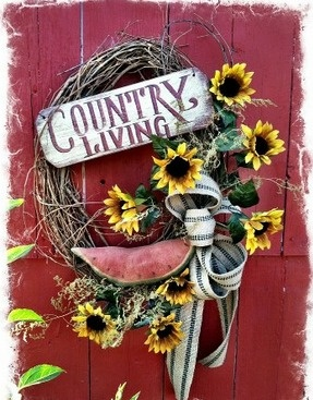 Summer Country Welcome...wreath!!! Bebe'!!! Cute wreath for summer. Love the watermelon and sunflowers!!!
