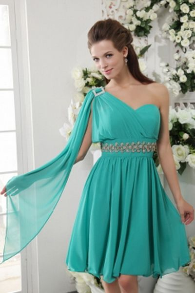 Green Chiffon One-shoulder Bridesmaids Gown - Order Link: http://www.theweddingdresses.com/green-chiffon-one-shoulder-bridesmaids-gown-twdn2635.html - Embellishments: Applique , Beading , Ribbons; Length: Short; Fabric: Chiffon; Waist: Natural - Price: 94.22USD
