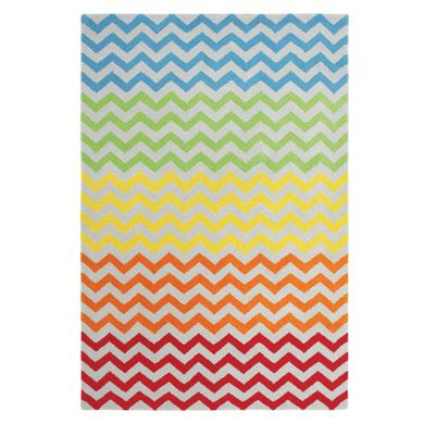 Rainbow Chevron Rug - multi-coloured options suit a playroom for brothers and sisters