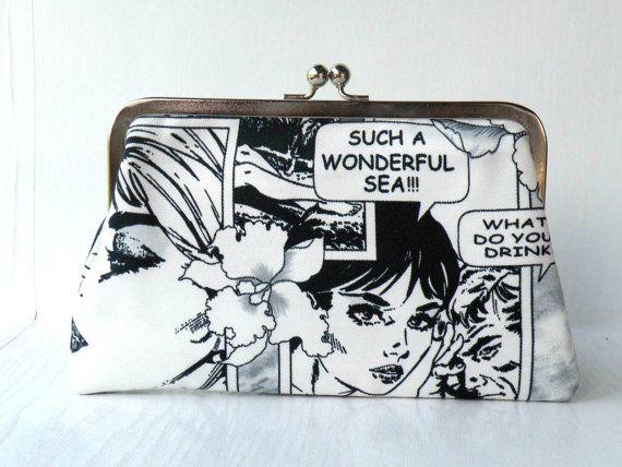 Black and whitePop artcomic clutchhand bag by craftsbynesli, $36.00