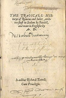 In 1562, Richard Tottel first published, The Tragicall Historye of Romeus and Juliet by Arthur Brooke.  Romeus and Juliet was the key source for William Shakespeare's Romeo and Juliet.