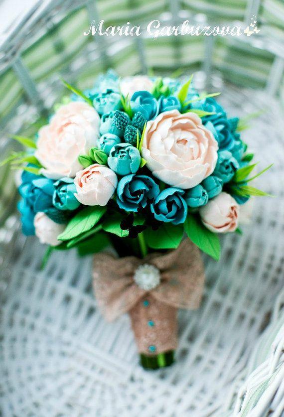 Bouquet da sposa, bouquet da sposa bellissima fatta di argilla secca aria, Rose e peonie, composizione di fiori, bei fiori