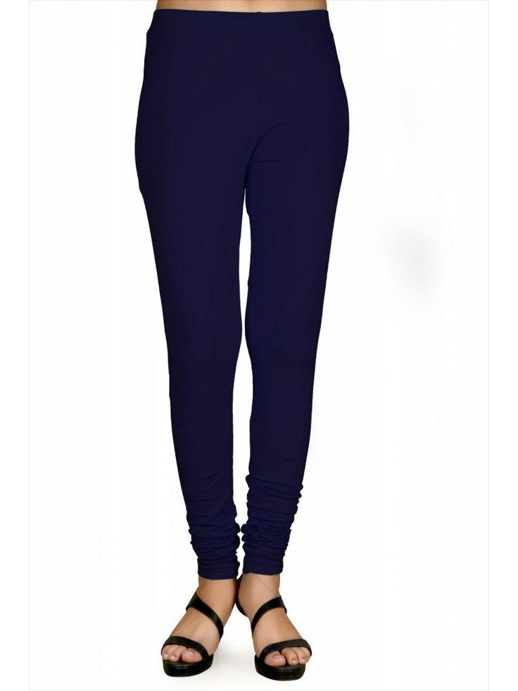 Blue Lycra Solid Full Length Leggings