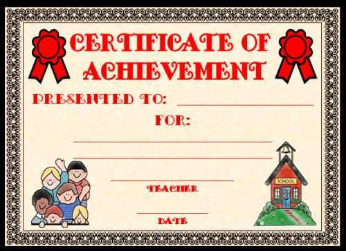 Certificate of Achievement Award:  You can find this printable award (and many other achievement awards and certificates for elementary school teachers) on Unique Teaching Resources.