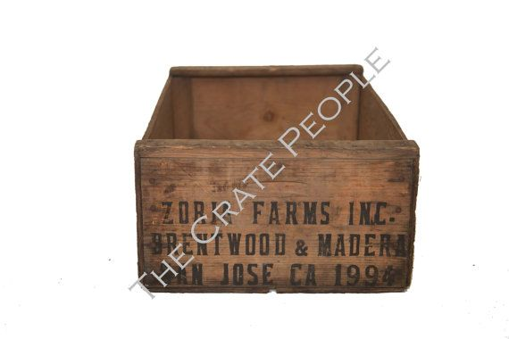 Vintage Wood Crates Tall Grape Crate Hundreds by FoundInAttic