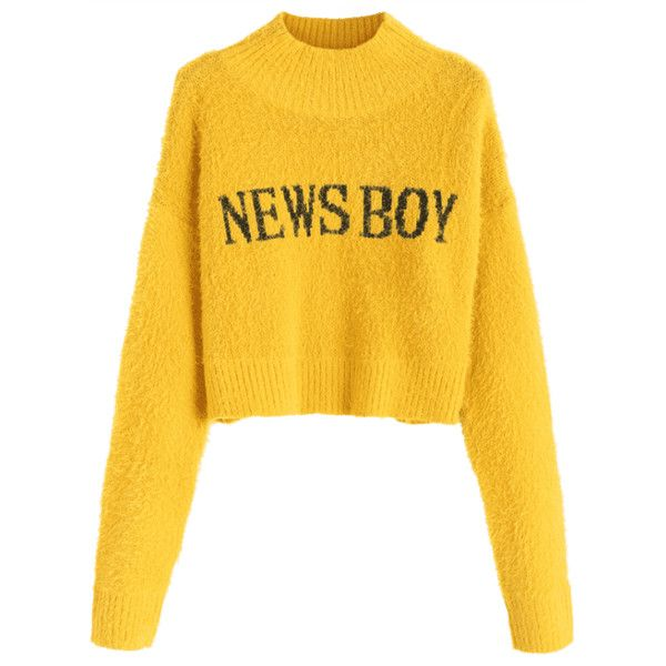 Fuzzy News Boy Graphic Mock Neck Sweater Yellow ($29) ❤ liked on Polyvore featuring tops, sweaters, yellow top, mock neck sweater, graphic sweaters, mock neck top and graphic design sweaters