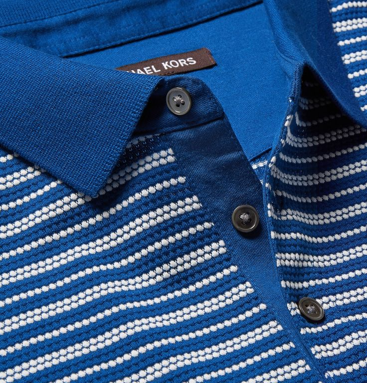 Michael Kors - Striped Textured-Knit Pima Cotton Polo Shirt