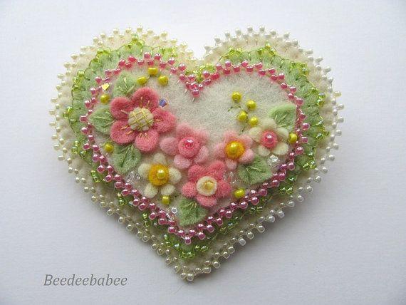 Felt Heart Pin  / Heart Pin / Heart Brooch by Beedeebabee on Etsy