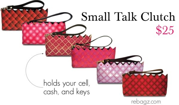 Red & Pink! Rebagz has over twenty color ways, each include a removable faux leather wristlet. Soooo cute!