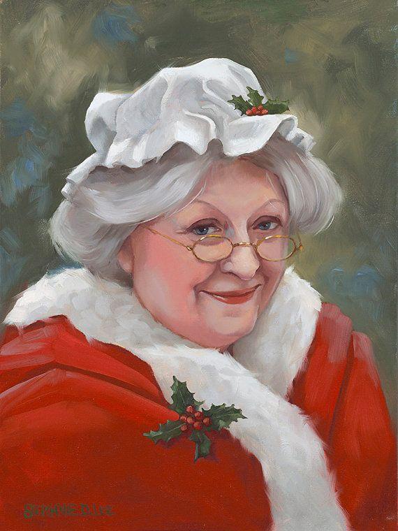 "Mrs. Claus giclee print on canvas Christmas art 9""x12"""