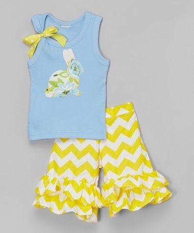 Blue Bunny Tank & Yellow Ruffle Shorts - Infant, Toddler & Girls #zulily #zulilyfinds