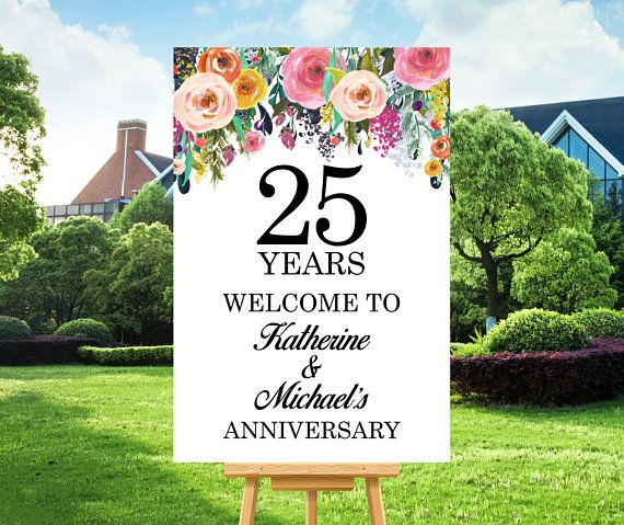 Anniversary Welcome Sign 25th Anniversary Party Decorations Any