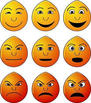 Emotikony, Emócie, Smajlíky, Tváre