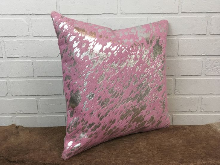 """New 16"""" real hair on cowhide pillow amazing dyed pink with silver accent - FREE SHIPPING in USA and Canada. sofa throw cushion pelt luxury http://etsy.me/2op7or5 #housewares #pillow #pink #leather #office #silver #square #housewarming #coveronly"""