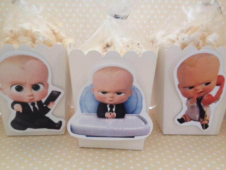 Huge hit at our son's 1st Birthday party!! All products bought through Etsy...Shipped and arrived quick plus items were carefully packaged! Very pleased with these products & service!   Boss Baby Popcorn  and/or Favor Boxes - Set of 10 by PartyByDrake on Etsy https://www.etsy.com/transaction/1272549238