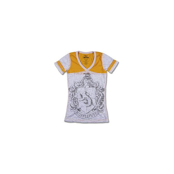 Hufflepuff™ Ladies Burnout T-Shirt   Universal Orlando™ ($29) ❤ liked on Polyvore featuring tops, t-shirts, harry potter, burnout t shirt and burnout tee