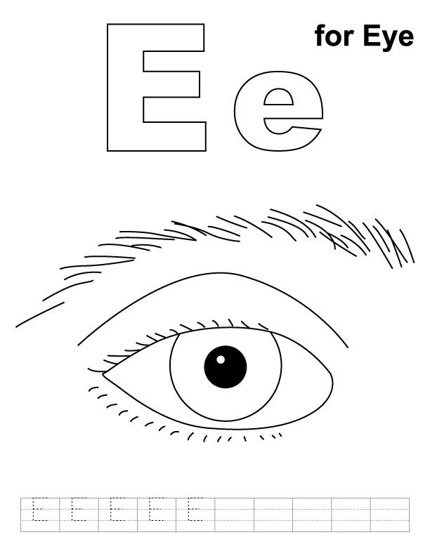E for eye coloring page with handwriting practice