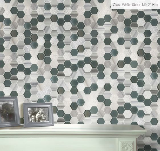 "Glass White Stone Mix 2"" Hexagon Room Inspiration #roominspiration #homeinspiration #faberstoneandtile"