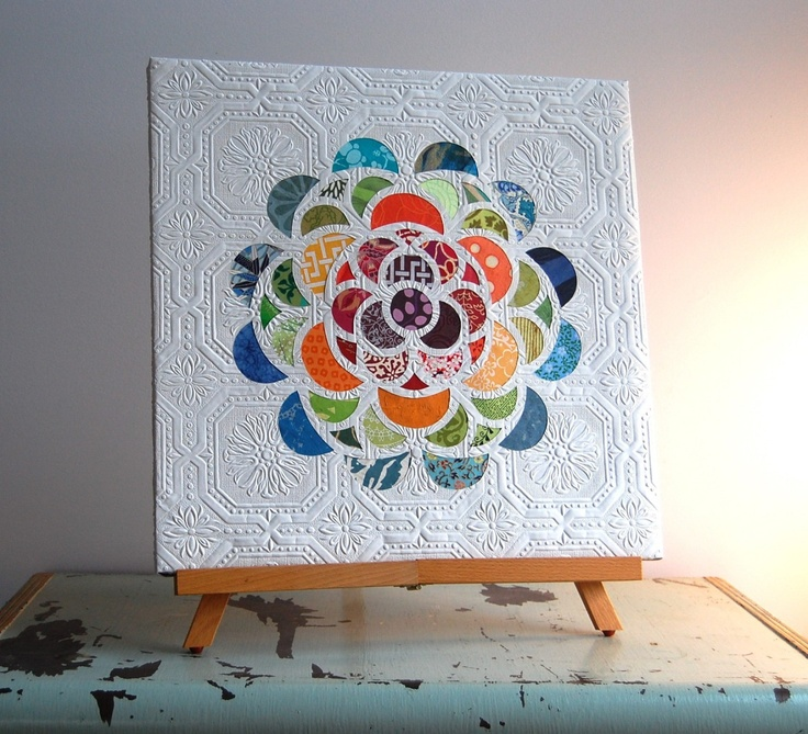 paper collage floral burst wall art, 18 x 18. $150.00, via Etsy.  by Kelly Stephens - really has the feel of a quilt