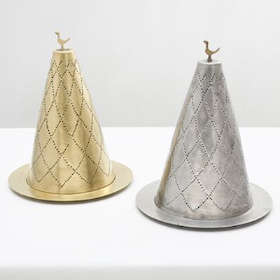 Party hats candle holders! Gold and white brass www.cazabrand.com