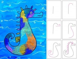 Seahorse Art Project for Kids | Ziggity Zoom for classroom or homeschool - great art idea