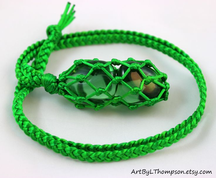Original art by L. Thompson  Green Obsidian Green Satin Cord Wrapped Healing Crystal Net Necklace