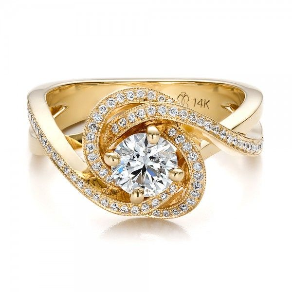 custom yellow gold and diamond engagement ring - Wedding Rings Prices