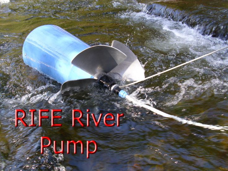 Pumps water from flowing streams, creeks, or rivers without electricity or fuel. Lift water up to 82 feet vertically.