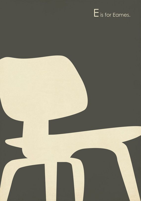 E is for Eames Chair. Amy Sullivan on Etsy.