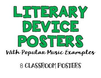 Use these Literary Device Posters in your classroom to help your students define and understand allusion, alliteration, hyperbole, metaphor, parallelism, personification, repetition, and simile. Each poster includes 3 examples from popular music artists including Beyonce, Justin Bieber, Nicki Minaj, Taylor