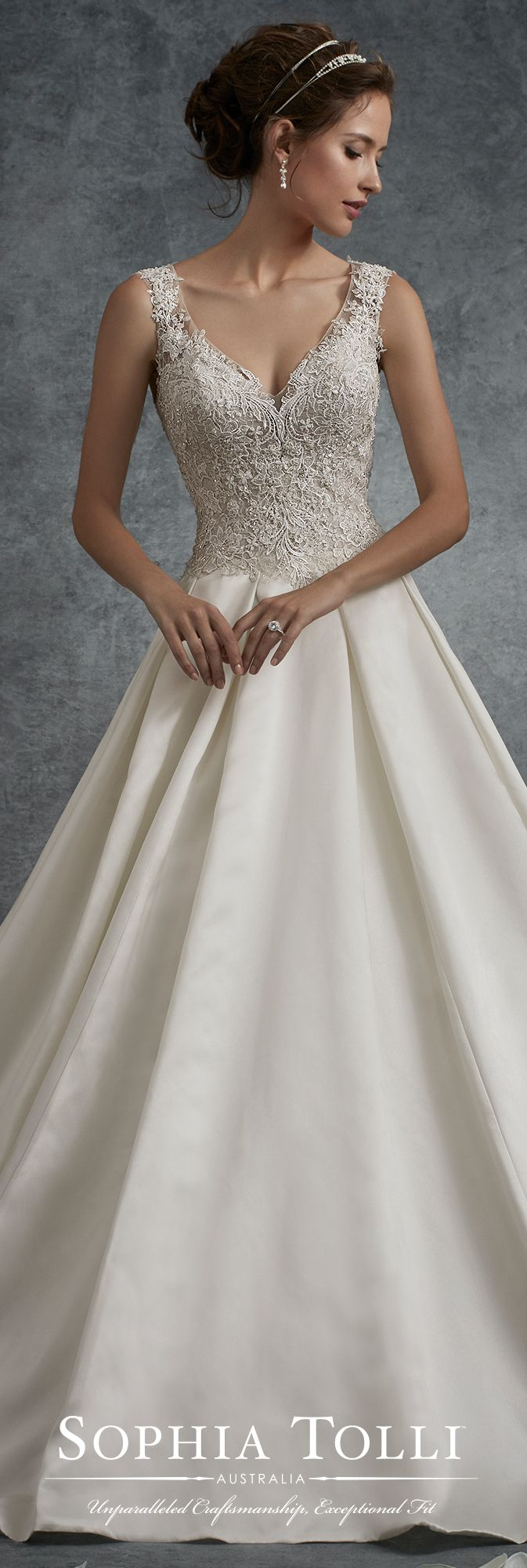 Sophia Tolli Fall 2017 Wedding Gown Collection - Style No. Y21756 Neptune - sleeveless satin A-line wedding dress with beaded lace appliqué bodice & keyhole back