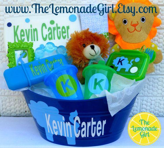 87 best easter basket ideas images on pinterest gift basket personalized boy girl baby shower gift basket by thelemonadegirl negle Gallery