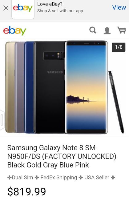 Samsung Galaxy Note 8 Dual Sim version sales for 820$
