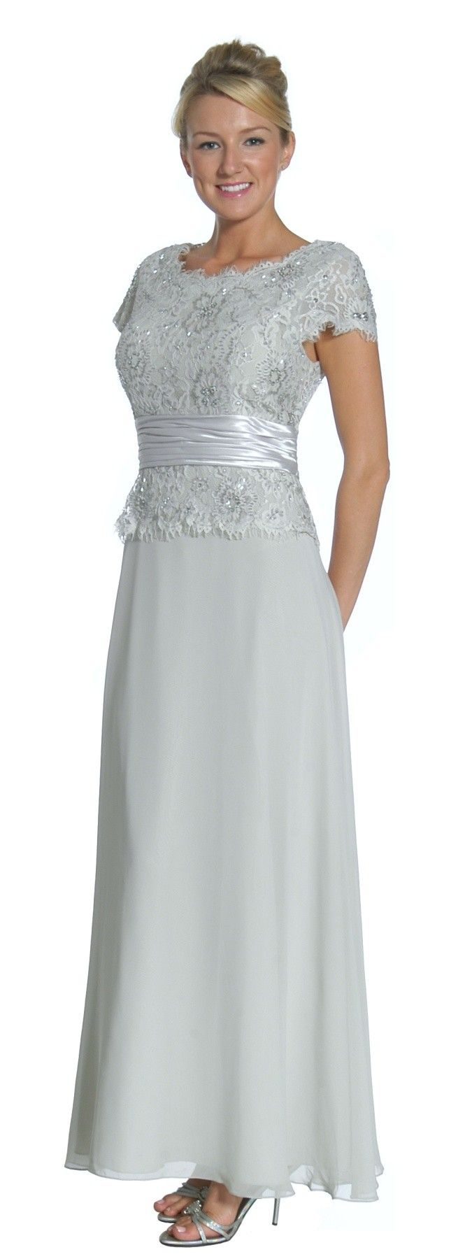 Silver Mother of the Bride/Groom Dress Evening Chiffon Cap Sleeve (5 Colors Available) $227.99 Short Sleeve Formal Dresses