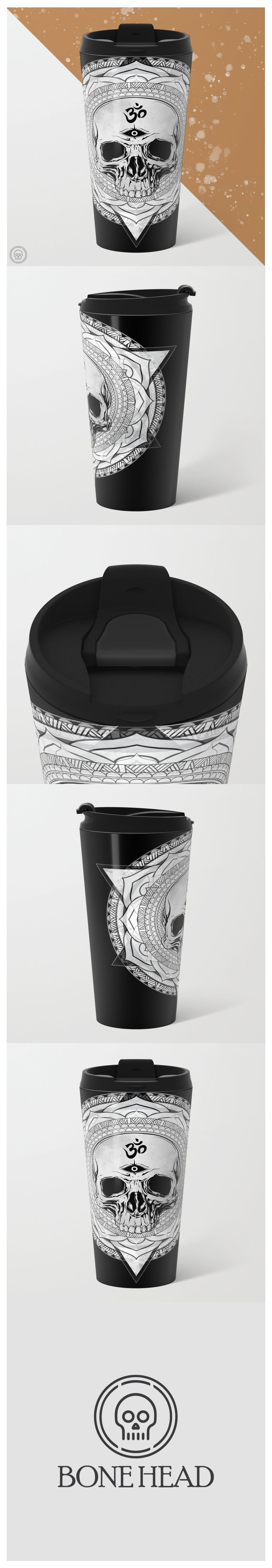 Coffee is ALWAYS a good idea! Now you can awaken more than a drowsy spirit with this beautifully designed travel mug By Bone Head! Featuring an intricately detailed awakened skull mandala, this mug is perfect for aiding in your quiet meditation to an intense yoga session to crushing your next WOD! OH and just so you know these mugs are pretty much indestructible, double-walled insulated ( keep drinks hot or cold) fit in almost any size cup holder, are easy to clean AND have a leak-proof top!